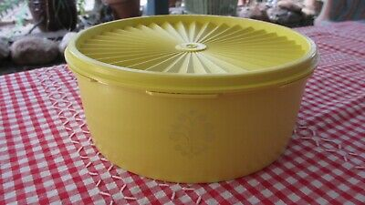Vintage Tupperware bright Yellow Servalier Biscuit Canister