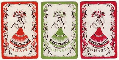 SET OF 3 Vintage Playing Cards  LADIES OF THE CARIBBEAN (ORANGE/GREEN/HOT PINK)