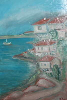 Vintage expressionist oil painting village seascape signed