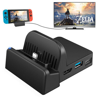 Portable TV Dock Converter HDMI Charger Base Station USB 3.0 for Nintendo Switch