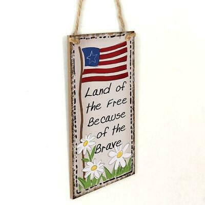 Wooden Hanging Plaque Because Of The Brave Sign Board Wall Door Decoration