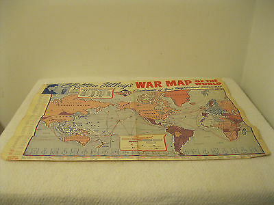 Vtg. 1940s Skelly Oil NBC Clifton Utley's Military WWII War Maps of the World