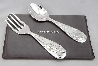 TIFFANY & Co. STERLING Silver Baby Fork Spoon Set in Box Spaceship Rocket Planet