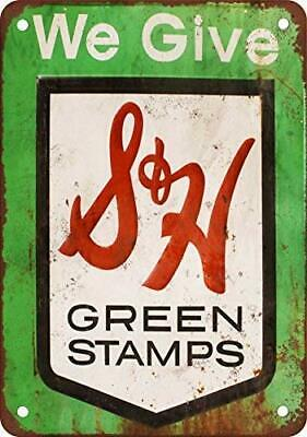 S&H Green Stamps Vintage Metal Tin Sign 12 X 18 Inches