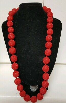 Vintage Art Deco Hand Car ved Natural Red Cinnabar 15mm Bead Necklace Shou Beads
