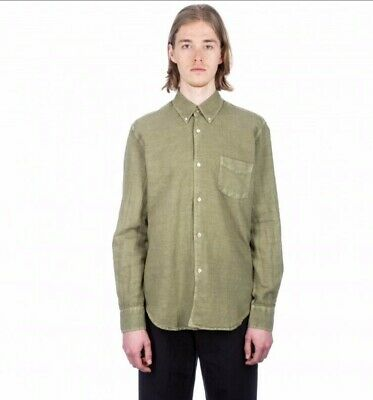 our legacy 1950's vintage olive linen shirt size 46/s *BRAND NEW WITH TAGS*