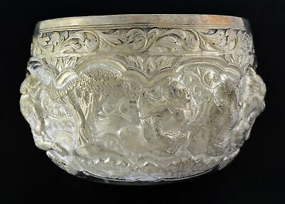 Antique Colonial India Lucknow Sterling Silver Repousse Buddha Offering Bowl