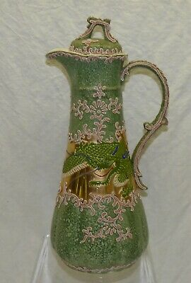 "Antique Nippon Moriage 11 1/2"" Chocolate Pot Green Dragon w/ Gold Hand Painted"