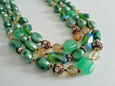 Unique Vintage Triple Bead Strand Necklace Emerald Green Art Glass Made in Japan