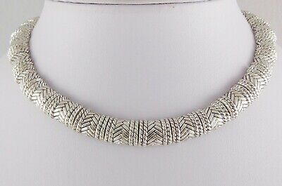 "Silver Plated Basket Weave Collar 15"" Necklace Panels Antiqued Retro Heavy Euc"