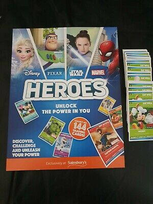 Sainsburys Disney Heroes Collection Book With All144 Cards (Complete  Set)