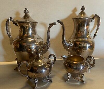 Antique Silver On Copper LOT OF 4 PIECES, GREAT SHAPE