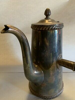 SCARCE ANTIQUE Gorham Silver Soldered Coffee Pot/ Tea Kettle WITH WOODEN HANDLE