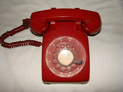 Vintage 1960s Rotary Dial Phone Red Bell, Western Electric 500 1-61 Works Tested