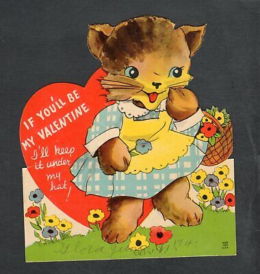 H218 Valentine 5x5 Dressed kitty Cat with great flowers