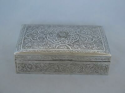 Incredible Vintage Sterling Silver Hand Engraved Large Box