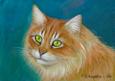 Cat Original ACEO Cute Ginger Kitten Acrylic Miniature Painting Cat Seraphin-Art