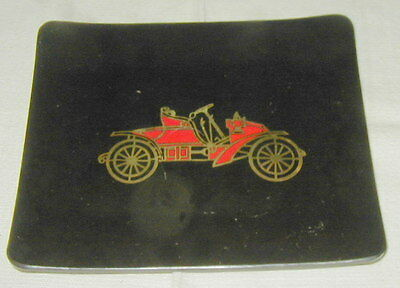 VINT. COUROC TRAY w OLD CAR DECORATION, WOOD & METAL INLAY, MID CENTURY BARWARE