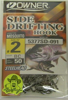Owner Side Drifting Hooks Steelhead Mosquito  #5377SD-073 Size #4 RED 50 pack