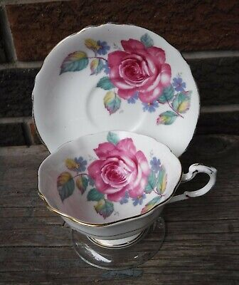 Paragon Bone China Cup And Saucer With A Large Pink Cabbage Rose
