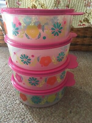 TUPPERWARE Big Wonders Cereal Salad BOWLS & SEALS Floral Fiesta Pink New
