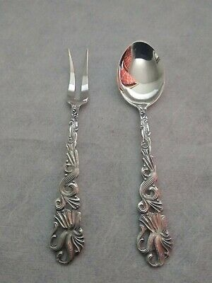Beautiful Vintage Swedish Confectionery Fork and Coffee Tea Spoon Silver Plate