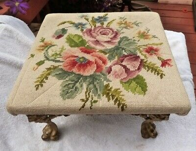 Victorian Style Cast Iron Footstool Ottoman Foot Stool Needlepoint Roses Top