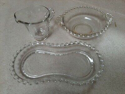 Vintage Candlewick Glassware Miscellaneous Pieces Lot/Three Creamer/Tray/Bowl