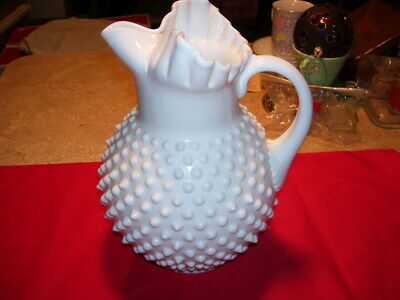 Antique White Fenton?? Hobnail Milk Glass Pitcher