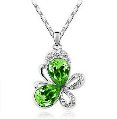 European fashion green crystal Silver butterfly Pendant Necklace jewelry gift