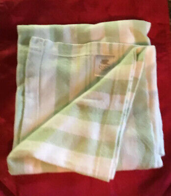 New Martha Stewart Everyday Baby Blanket Pastel Green Yellow White Stripe Cotton