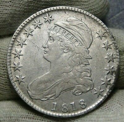 1818 Capped Bust Half Dollar 50 Cents -  Nice Coin, Free Shipping (8759)