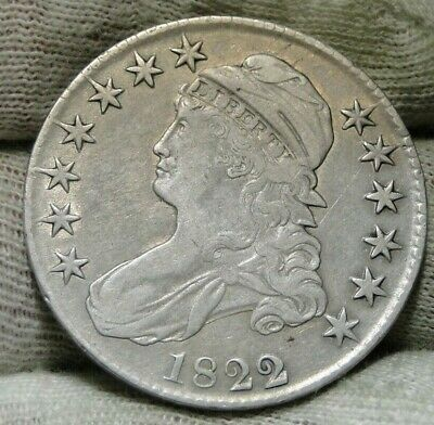 1822/1 Capped Bust Half Dollar 50 Cents - Nice Coin Free Shipping (8807)