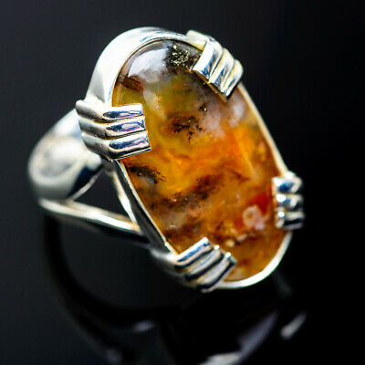 Indonesian Plume Agate 925 Sterling Silver Ring Size 6.75 Jewelry R971809