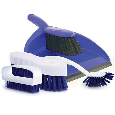 Charles Bentley Brights 4 Piece Colour Coded Dustpan & Brush Cleaning Set - Blue
