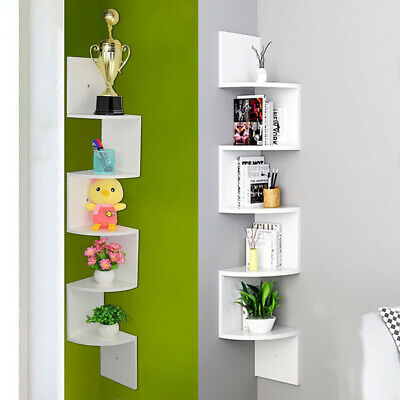 2/3/5 Ties Floating Wall Shelves Corner Shelf Storage Display Bookcase Shelving