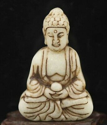 Chinese natural jade hand-carved statue buddha pendant 2.4 inch