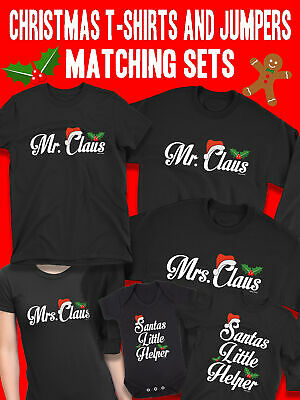 Mr & Mrs Claus Mens Ladies Kids Family Christmas Matching T-Shirts Xmas Jumpers