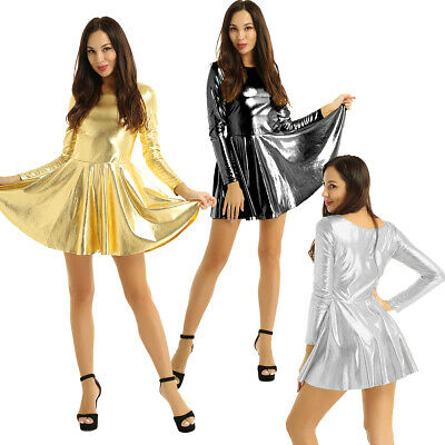 Women's Wet Look Scoop Neck Shiny Long Sleeves Nightclub A-line Party Mini Dress