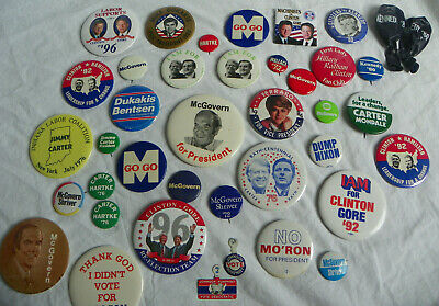 Democratic Political Buttons Lot President Carter Kennedy McGovern LBJ Clinton +
