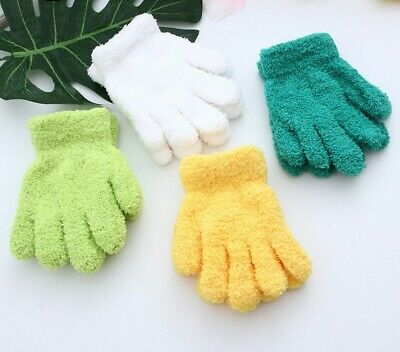 Pure Color Coral Velvet Knitted Children Gloves Winter Kids Fashion Hand Warmers