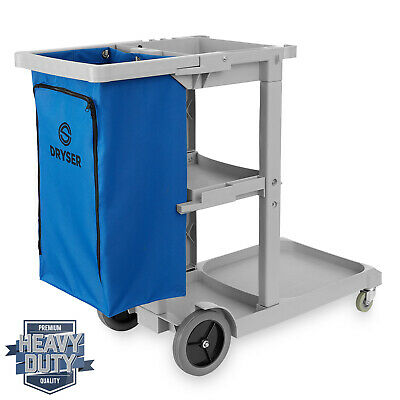 Commercial Janitorial Cleaning Housekeeping Caddy with Shelves and Vinyl Bag
