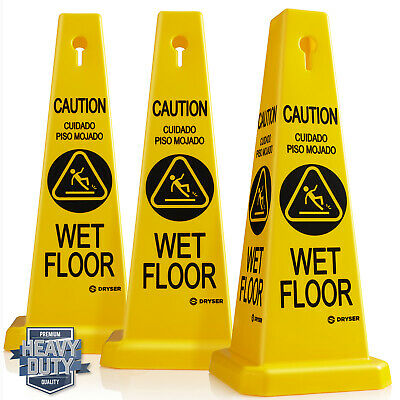 """3-Pack 26"""" Caution Wet Floor Cone Shaped Sign, Yellow/English Spanish"""