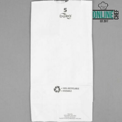 (500-Pack) 5 lb. White Disposable Paper Grocery School Lunch Bags Resto Kitchen
