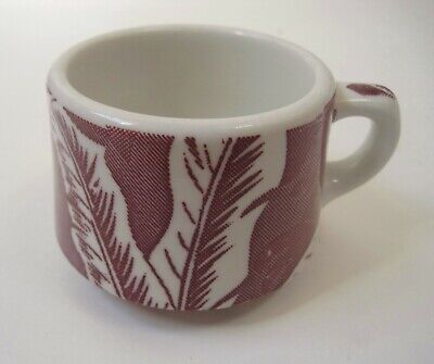 Wallace China Red Banana Shadow Leaf Coffee Cup Vintage Restaurant Ware USA
