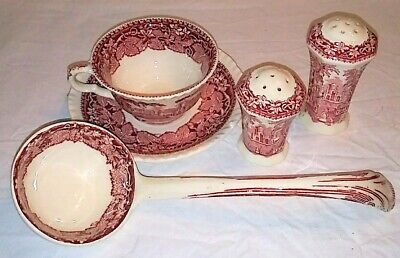 ANTIQUE Mason's England Red Pink VISTA Pattern Ladle Salt/ Pepper Cup/ Saucer