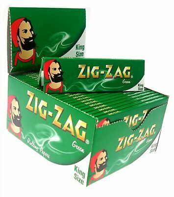 x50 ZIG ZAG KING SIZE GENUINE GREEN SMOKING CIGARETTE ROLLING PAPERS