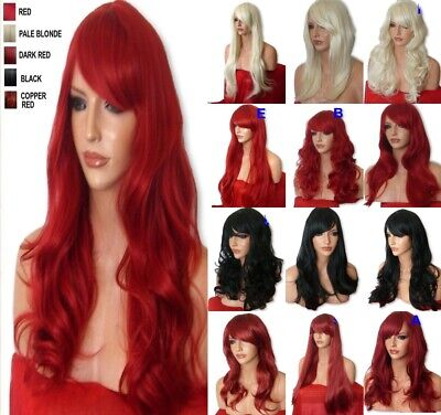 Women RED Black Blonde Brown Ginger Curly Straight Halloween Fashion Costume WIG