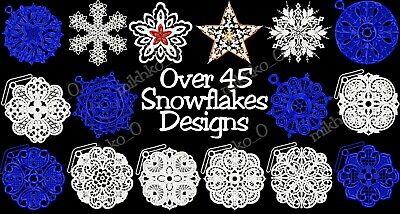 Machine Embroidery Designs - 45 Fsl Snowflakes Embroidery - Pes Dst Jef Formats