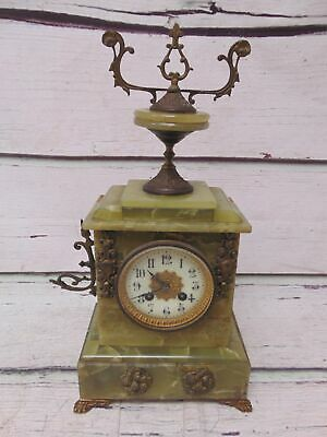 Large Vintage Alabaster Mantel Clock With Metal Decorative Appendages - C38